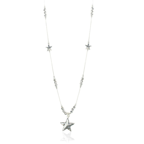 Bisoux Jewellery Long Silver Hammered Star Pendant Necklace